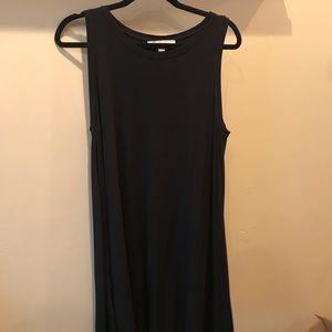 Loft plain black swing dress